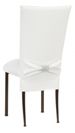 White Patent Chair Cover and Rhinestone Belt with White Stretch Knit Cushion on Brown Legs (1)