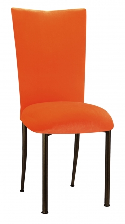Orange Velvet Chair Cover and Cushion on Brown Legs (2)