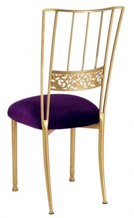 Gold Bella Fleur with Deep Purple Velvet Cushion (1)