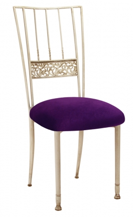 Ivory Bella Fleur with Deep Purple Velvet Cushion (2)