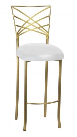 Gold Fanfare Barstool with Metallic White Knit Cushion (1)