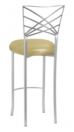 Silver Fanfare Barstool with Metallic Gold Knit Cushion (1)
