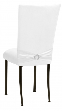 White Suede Chair Cover with Jewel Belt and Cushion on Brown Legs (1)