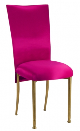 Fuchsia Satin Chair Cover with Bow Belt and Cushion on Gold Legs (2)