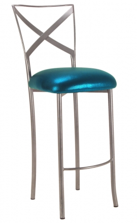 Simply X Barstool with Metallic Teal Cushion (2)