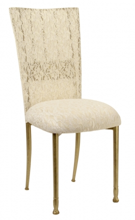 Gold Bella Fleur with Ivory Lace Chair Cover and Ivory Lace over Ivory Stretch Knit Cushion (2)