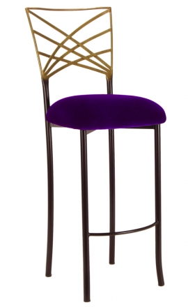 Two Tone Gold Fanfare Barstool with Eggplant Velvet Cushion (2)