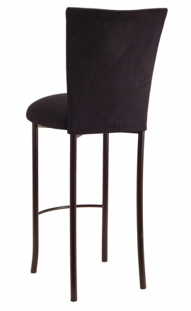 Black Suede Barstool Cover and Cushion on Brown Legs (1)