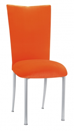 Orange Velvet Chair Cover and Cushion on Silver Legs (2)