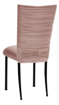 Chloe Blush Stretch Knit Chair Cover with Jewel Band and Cushion on Black Legs (1)