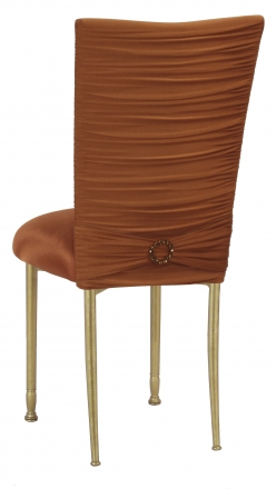 Chloe Copper Stretch Knit Chair Cover with Jewel Band and Cushion on Gold Legs (1)