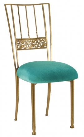 Gold Bella Fleur with Turquoise Velvet cushion (2)