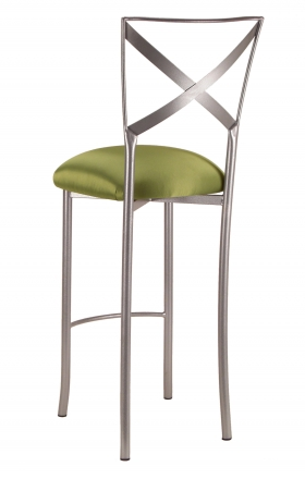 Simply X Barstool with Lime Satin Cushion (1)