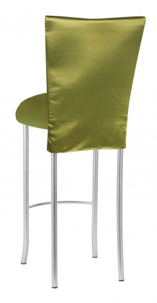 Lime Satin 3/4 Length Barstool Cover and Cushion on Silver Legs (1)