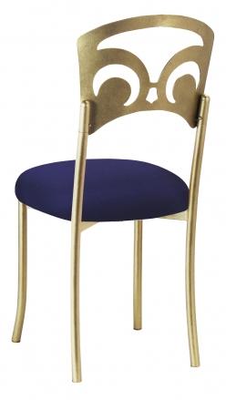 Gold Fleur de Lis with Navy Stretch Knit Cushion (1)