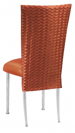 Orange Taffeta Scales 3/4 Chair Cover with Boxed Cushion on Silver Legs (1)