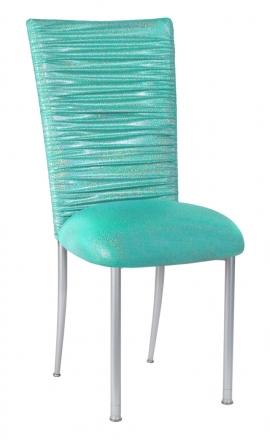 Chloe Mermaid Stretch Knit Chair Cover and Cushion on Silver Legs (2)
