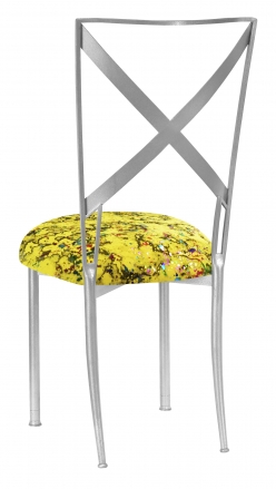 Silver Simply X with Yellow Paint Splatter Cushion (1)