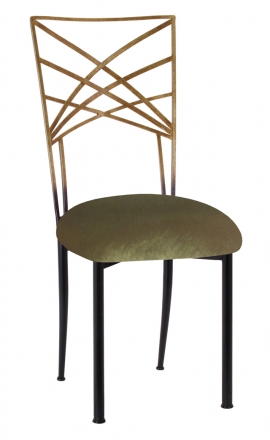 Two Tone Gold Fanfare with Olive Velvet Cushion (2)