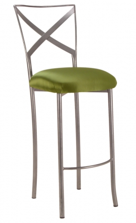 Simply X Barstool with Lime Satin Cushion (2)