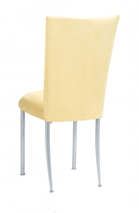 Buttercup Suede Chair Cover and Cushion on Silver Legs (1)