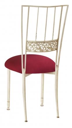 Ivory Bella Fleur with Cranberry Stretch Knit Cushion (1)
