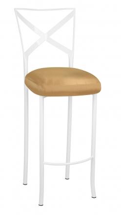 Simply X White Barstool with Gold Taffeta Boxed Cushion (2)