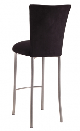 Black Suede Barstool Cover and Cushion on Silver Legs (1)