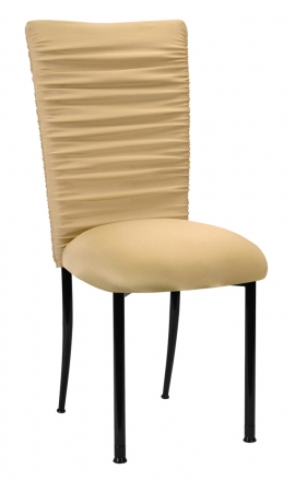 Chloe Gold Chair Cover and Cushion on Black Legs (2)