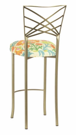 Gold Fanfare Barstool with Floral Bloom Boxed Cushion (1)