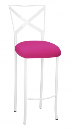 Simply X White Barstool with Hot Pink Stretch Knit Cushion (2)