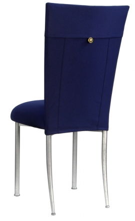 Navy Blue Chair Cover with Button Chair Cover and Cushion on Silver Legs (1)