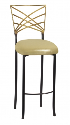 Two Tone Fanfare Barstool with Metallic Gold Knit Cushion (2)