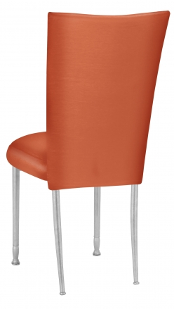 Orange Taffeta Chair Cover with Boxed Cushion on Silver Legs (1)