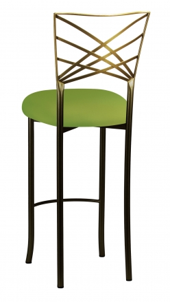 Two Tone Fanfare Barstool with Lime Knit Cushion (1)
