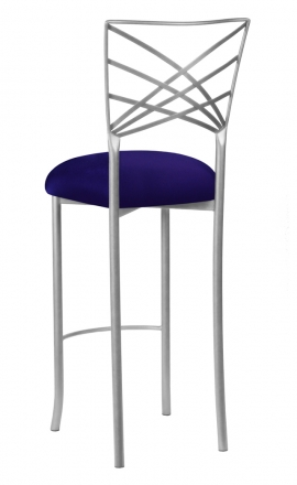 Silver Fanfare Barstool with Navy Stretch Knit Cushion (1)