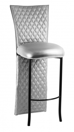 Silver Quilted Barstool Jacket with Silver Leatherette Boxed Cushion on Black Legs (2)