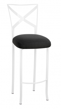 Simply X White Barstool with Charcoal Linette Boxed Cushion (2)
