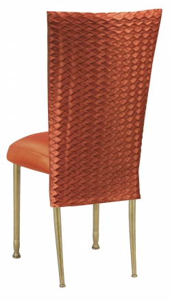Orange Taffeta Scales 3/4 Chair Cover with Boxed Cushion on Gold Legs (1)