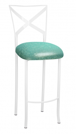 Simply X White Barstool with Mermaid Stretch Knit Cushion (2)