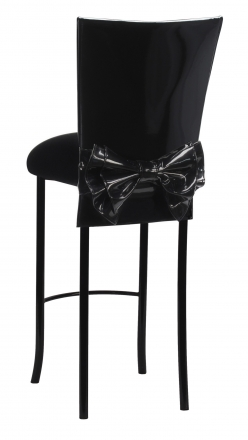 Black Patent Barstool Cover with Bow Belt and Cushion on Black Legs (1)