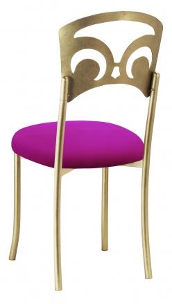 Gold Fleur de Lis with Magenta Stretch Knit Cushion (1)