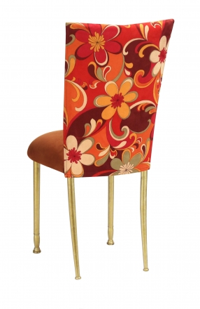 Groovy Suede Chair Cover with Copper Suede Cushion on Gold Legs (1)