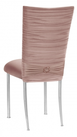 Chloe Blush Stretch Knit Chair Cover with Jewel Band and Cushion on Silver Legs (1)