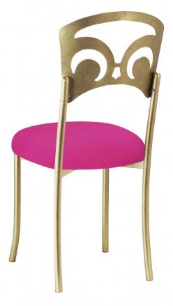 Gold Fleur de Lis with Hot Pink Stretch Knit Cushion (1)