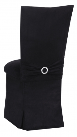 Black Suede Chair Cover with Jewel Belt, Cushion and Skirt (1)