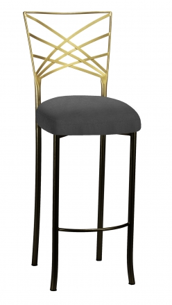 Two Tone Fanfare Barstool with Charcoal Linette Boxed Cushion (2)