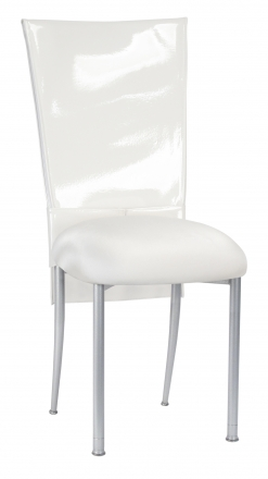 White Patent Chair Cover and Rhinestone Belt with White Stretch Knit Cushion on Silver Legs (2)