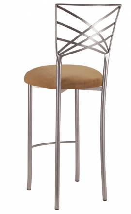 Silver Fanfare Barstool with Camel Suede Cushion (1)