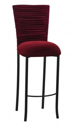 Cranberry Velvet Chloe Barstool Cover and Cushion on Black Legs (2)